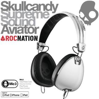 スカルキャンディ(Skullcandy)のSkullcandyスカルキャンディーヘッドフォン AVIATOR ホワイト 白(ヘッドフォン/イヤフォン)