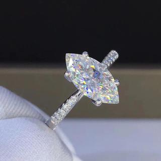 【1.5カラット】マーキースカット モアサナイト ダイヤモンド リング(リング(指輪))