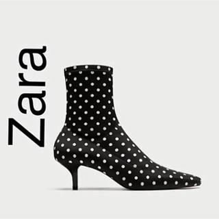ザラ(ZARA)の新品未使用 ZARA ドット柄 ショートストレッチブーツ 37(ブーツ)