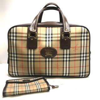 バーバリー(BURBERRY)の454 超美品 バーバリー ノヴァチェック ボストンバッグ 旅行鞄 ポーチ付き(ボストンバッグ)