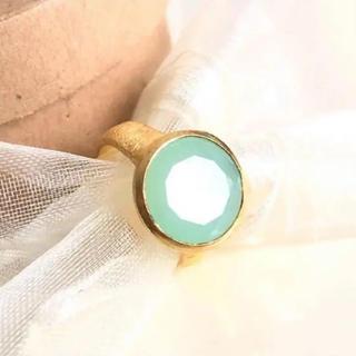 インドジュエリー★アクアカルセドニー★シルバー925金メッキ指輪(リング(指輪))