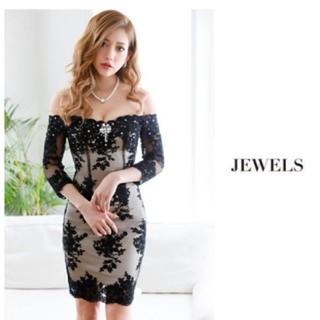 cf972d2da650d ジュエルズ(JEWELS)のJewels Lサイズ レース オフショル タイト ドレス(ナイトドレス)
