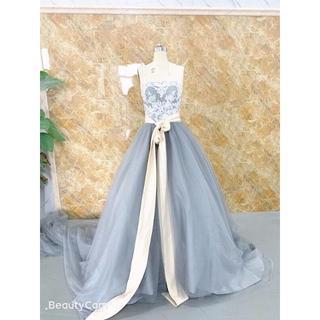 50afb5429ceac グレーカラードレス 150cm豪華トレーン ウェディングドレス(ウェディングドレス)