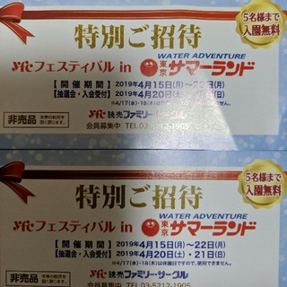 サマーランド招待券2枚(プール)