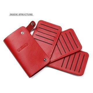 【Red&Brown 2個セット】カード収納専用ケース  ★GUBINTU(名刺入れ/定期入れ)
