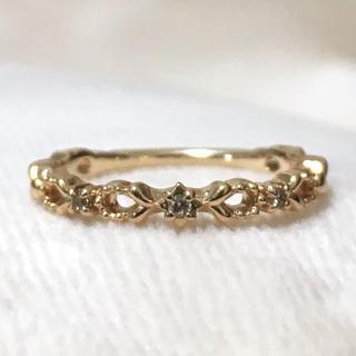 ノジェス(NOJESS)のノジェス ピンキー ダイヤ 3石 透かし ゴールド リング 重ね付け(リング(指輪))