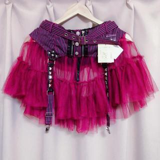アルゴンキン(ALGONQUINS)のALGONQUINS ストライプガーターチュールスカート 美品(ミニスカート)