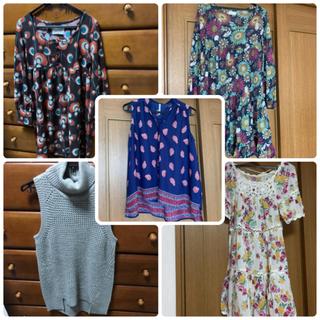シマムラ(しまむら)のレディースお洋服4点セット Mサイズ ニット、ワンピース、デニムシャツ(セット/コーデ)