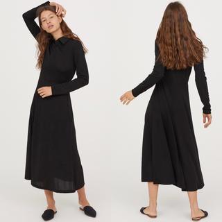 H&M - H&M 襟付きワンピース ブラック ミモレ丈 長袖 黒 Aライン フレア