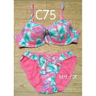 ✨新品✨ ブラジャー C75 & ショーツ セット 花柄 ピンク ブルー 紫(ブラ&ショーツセット)