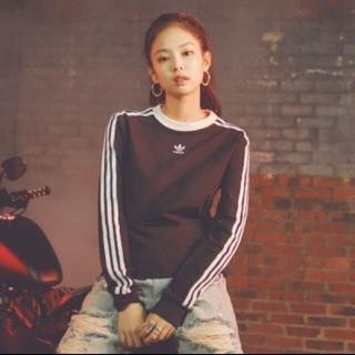 アディダス(adidas)の新品正規品 アディダスオリジナルス 長袖Tシャツ ブラックピンク ジェニ(Tシャツ(長袖/七分))
