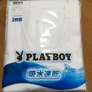 プレイボーイ(PLAYBOY)の新品 プレイボーイ インナー 半袖 Tシャツ メンズM 肌着 吸水速乾 2枚組(その他)