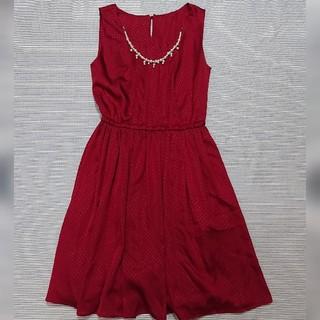 ドレス ワンピース 赤 ベルト付き 結婚式 二次会(ミディアムドレス)