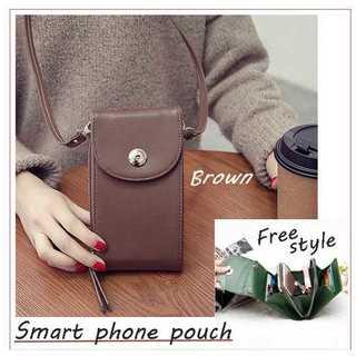 4172db14e684 ブラウン 携帯 スマホ ポシェット お財布ショルダー スマートフォン(iPhoneケース)