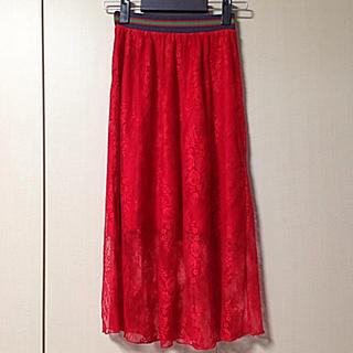 バウムウンドヘルガーデン(BAUM UND PFERDGARTEN)のバウムウンドヘルガーデン レーススカート 赤(ひざ丈スカート)