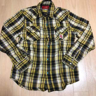 インディアン(Indian)のIndian motocycle チェックネルシャツ イエロー×ブラック M(シャツ)