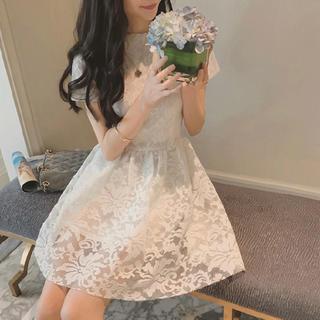 ザラ(ZARA)の27【2019年新商品】ホワイト 花柄 レース  ミニワンピース(ミニドレス)