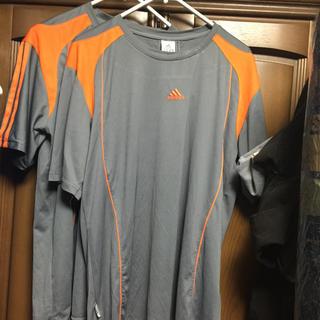 アディダス(adidas)のADIDAS Tシャツシルバーオレンジライン2個セット超良品(Tシャツ/カットソー(半袖/袖なし))