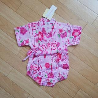 1224c6c7f0e46 ニシマツヤ(西松屋)の新品未使用 70 リボンと花柄甚平ロンパース(