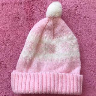 ニシマツヤ(西松屋)のベビー ニット帽 白×ピンク ポンポン付き(ニット帽/ビーニー)