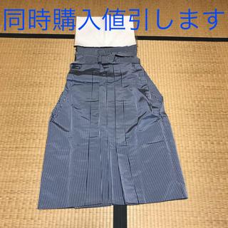 【中古】着物 馬袴 馬乗り袴 男物 化繊 紺 グレー ストライプ(着物)