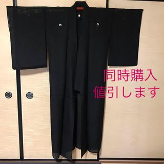 【中古】着物 夏物 絽 紋あり 喪服 黒(着物)