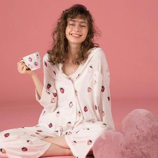 ジェラートピケ(gelato pique)のジェラートピケ新品ストロベリーシャツ&ロングパンツセット☆ピンク(パジャマ)