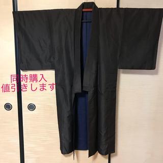 【中古】着物 男物 茶 ゴールド 光沢有あり (着物)