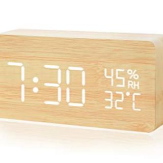 ★シンプル★目覚まし時計 木目調 シンプルデザイン(置時計)