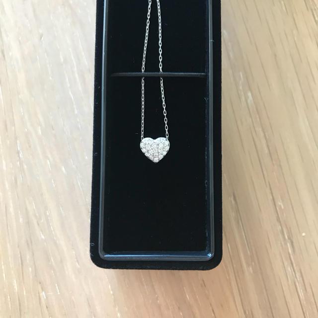 0.2カラット K18 WG ダイヤ ハート ペンダント  レディースのアクセサリー(ネックレス)の商品写真