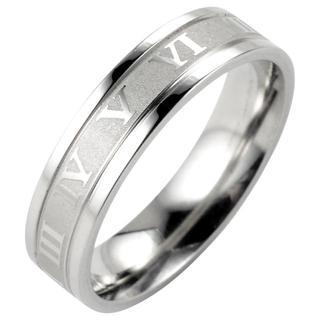 【28.5号】【シルバー】ローマ数字ステンレスリング 指輪 メンズ レディース(リング(指輪))