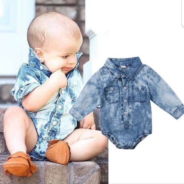 デニムロンパース キッズ/ベビー/マタニティのベビー服(~85cm)(ロンパース)の商品写真