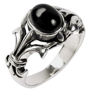 【23号】シルバーリング メンズ 指輪 925 オニキス silver フレア(リング(指輪))