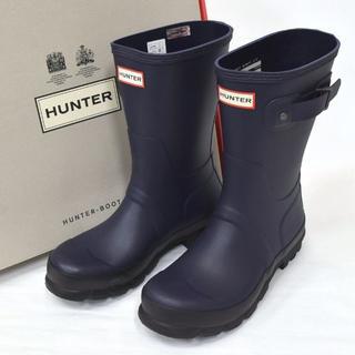 ハンター(HUNTER)の新品 UK7 HUNTER ハンター ショート レインブーツ ミッドナイト 紺(長靴/レインシューズ)
