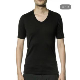 アタッチメント(ATTACHIMENT)のATTACHMENT シルキーフライスUネック 5分袖 ブラックM(Tシャツ/カットソー(半袖/袖なし))