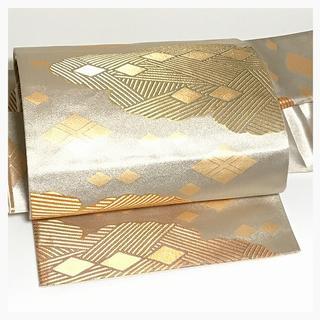 上質 正絹 錦帯 二重太鼓 付け帯 シルバー 雲取り模様 二部式 中古品(帯)