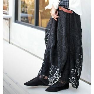 アンティカ(antiqua)のアンティカ 黒レース花柄コクーンスカート バルーンスカート(その他)