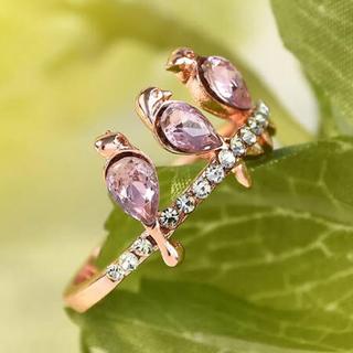 幸せの ピンク スリーバード リング 20号 大きいサイズ 鳥 指輪 新品未使用(リング(指輪))