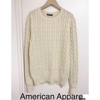 アメリカンアパレル(American Apparel)の美品 アメリカンアパレル クルーネック ケーブルセーター S(ニット/セーター)