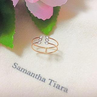 サマンサティアラ(Samantha Tiara)の(美品)サマンサティアラ  k10  トパーズ オープンリング♡11号(リング(指輪))