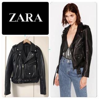 ザラ(ZARA)の美品 ZARA レザー ライダースジャケット ダブルライダース 黒 XS(ライダースジャケット)