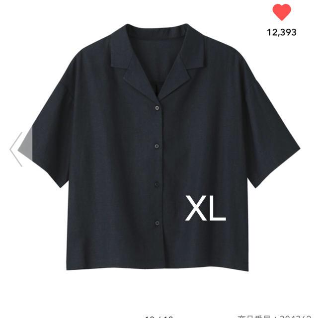 GU(ジーユー)の新品★GU リネンブレンドオープンカラーシャツ XL レディースのトップス(シャツ/ブラウス(半袖/袖なし))の商品写真