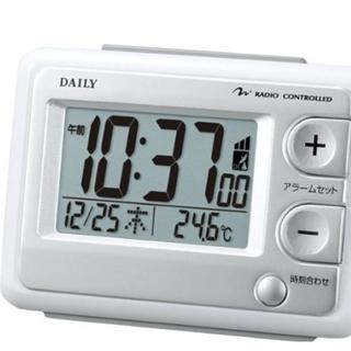 DAILY目覚まし時計 電波時計 温度計付き ジャストウェーブ(置時計)