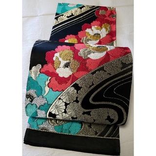 袋帯  黒  牡丹  流水 菊  金糸 銀糸 六通(帯)