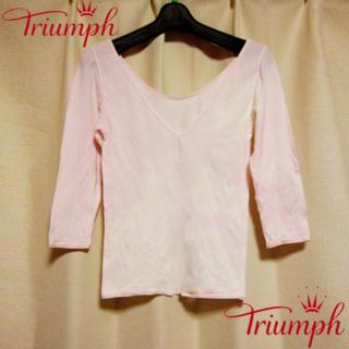 トリンプ(Triumph)のトリンプTriumhp オフショル トップスインナー ピンク M(アンダーシャツ/防寒インナー)