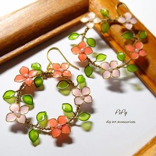 春服にもぴったり♡ リースピアス(ピンク系)(ピアス)