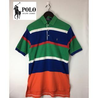 ポロラルフローレン(POLO RALPH LAUREN)のレア 90s 好配色 ポロラルフローレン 半袖 ポロシャツ ラガーシャツ L(ポロシャツ)