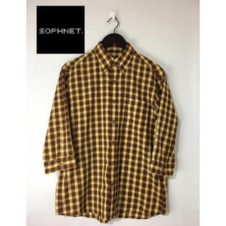 ソフネット(SOPHNET.)のSOPHNET ソフネット 七分袖 チェックシャツ 茶×黄 M(シャツ)