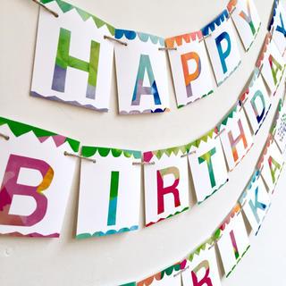 【バースデー★ガーランド】 お誕生日のカラフルな壁飾り お名前入り♡(アルバム)