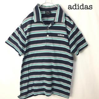 アディダス(adidas)のadidas アディダス ボーダー柄 ポロシャツ 半袖 トップス(ポロシャツ)